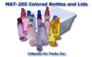 Colored Bottles and Lids Matching Activity