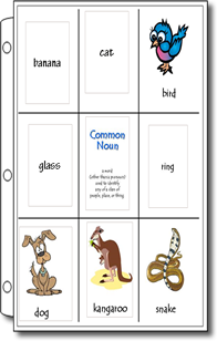 Nouns, Adjectives, and Verbs Notebook Task