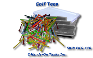 Packaging task using golf tees