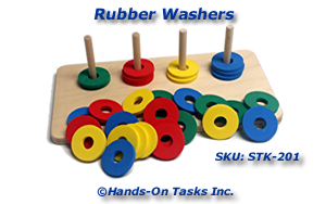 Stacking Foam Rubber Washers Activity