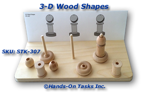 Stacking Wood Shapes with Holes.
