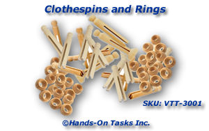 Clothespins and Rings (Doll Pin Bases) Put-On Activity